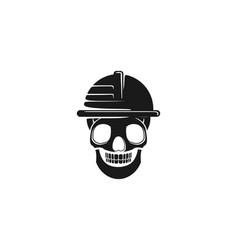 Skull helmet safety from danger logo design vector