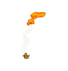 Skydiver falling with unopened parachute extreme vector