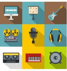 sound studio icon set flat style vector image