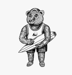 Surfing bear surfoboarder with a beach summer vector