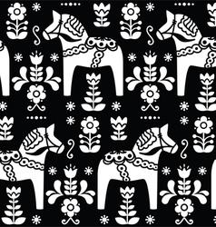 Swedish folk art Dala horse pattern vector
