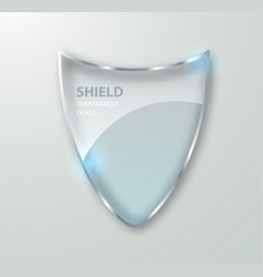 Transparent glass shield sign on transterent vector
