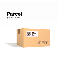 Transportation parcel carton box container qr vector
