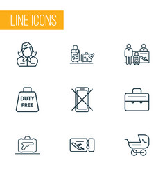 Traveling icons line style set with passenger at vector