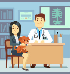 Veterinary office - woman with dog and vector
