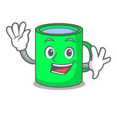 waving mug character cartoon style vector image