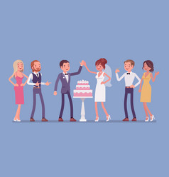 wedding cake in three tiers served for newlywed vector image