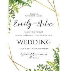 Wedding floral invitation invite save date vector