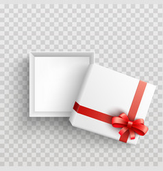 White present box with red ribbon bow open vector