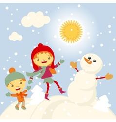Winter Fun snowman kids 2015 retro vector image
