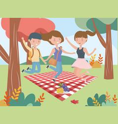 women and man jumpin blanket fruits picnic nature vector image