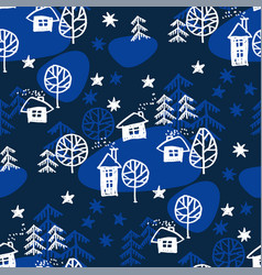 xmas forest with houses seamless pattern vector image