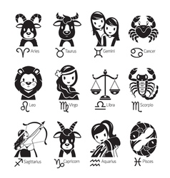 Zodiac signs icons set monochrome vector
