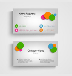 Business card with colored circles template vector image