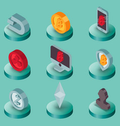 cryptocurrency flat isometric icons vector image