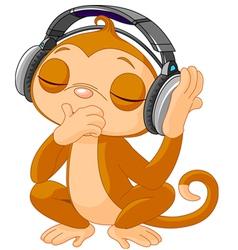 Cute little Monkey listening music vector image vector image