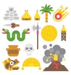 Flat design mayan items set vector image