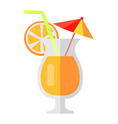 orange cocktail with fruit slice and umbrella vector image vector image