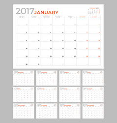set of calendar pages for 2017 year design vector image