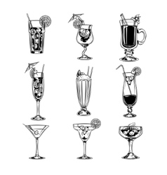 set of empty cocktail glasses vector image vector image