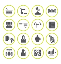 Set round icons of pool vector
