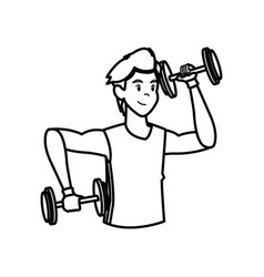 Sport man dumbbell fitness active lifestyle line vector