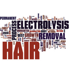 electrolysis hair removal text background word vector image