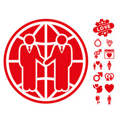 global partnership icon with love bonus vector image