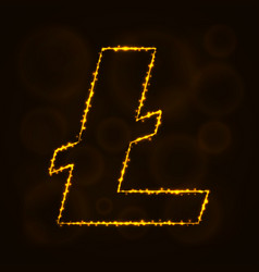 litecoin digital currency silhouette of lights vector image