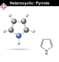 Pyrrole five-membered organic heterocycle vector image vector image