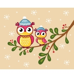 Two owls in hats sit on a branch vector image