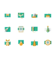 Winter holidays party flat color icons vector image