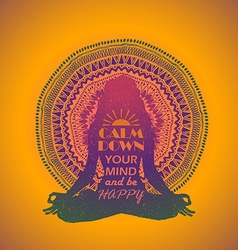 Woman Sitting In Yoga Lotus Pose And Mandala vector image vector image