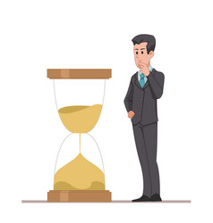 businessman or manager looks at the hourglass vector image vector image