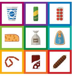 Flat icon eating set of bratwurst yogurt sack vector