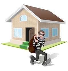 Robber in mask carries bag Thief robs house vector image