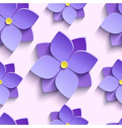 Seamless pattern with purple summer flowers vector image vector image