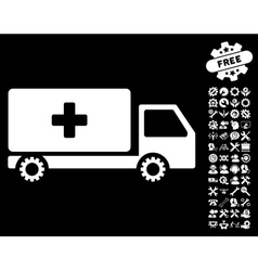 Service car icon with tools bonus vector