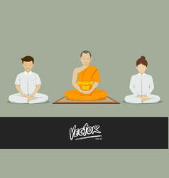 Thai monks and people meditation vector