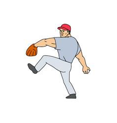 Baseball player pitcher ready to throw ball vector