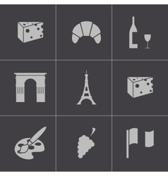 black paris icons set vector image vector image