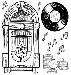 doodle jukebox music vector image vector image