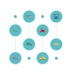 flat icons lorry truck carriage and other vector image vector image
