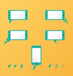 Gadget smartphone empty speech bubbles yellow vector image vector image