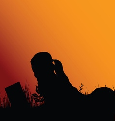 girl silhouette reading in nature vector image vector image
