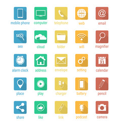 set of flat square icons vector image vector image