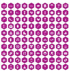 100 joy icons hexagon violet vector