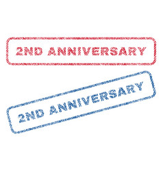 2nd anniversary textile stamps vector