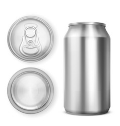 aluminium can for soda or beer in different views vector image