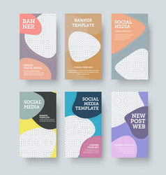 Banner with color geometric stories template vector